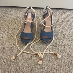 Denim Tie Wedges